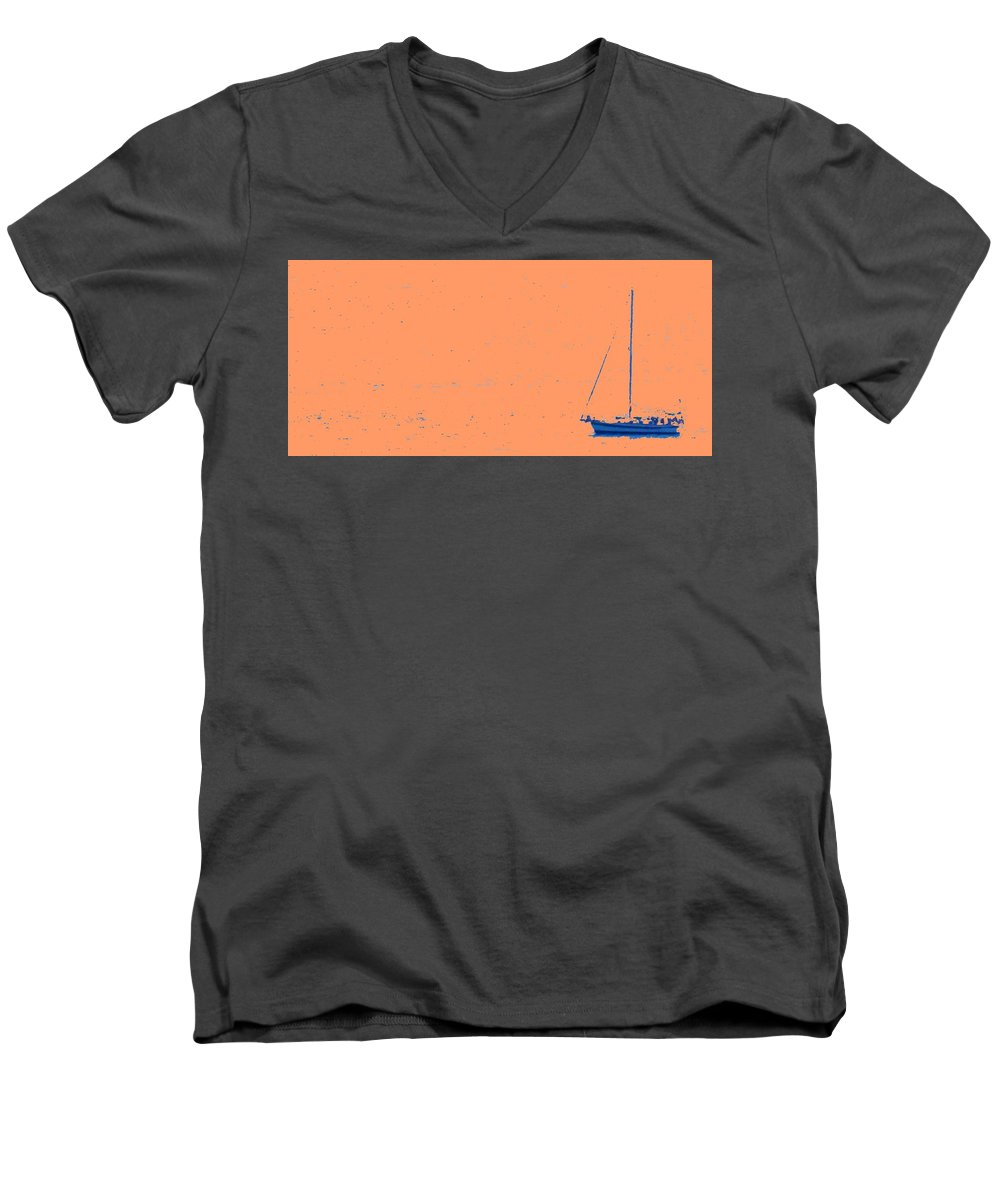 Boat Men's V-Neck T-Shirt featuring the photograph Boat On An Orange Sea by Ian MacDonald