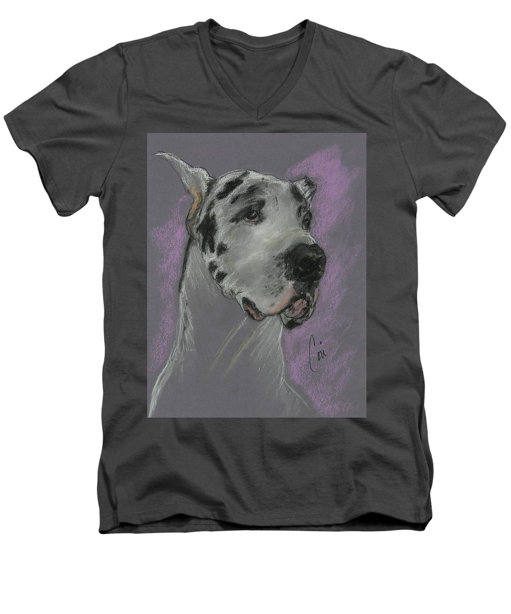 Great Dane Men's V-Neck T-Shirt featuring the drawing Bodhi's Mystique by Cori Solomon