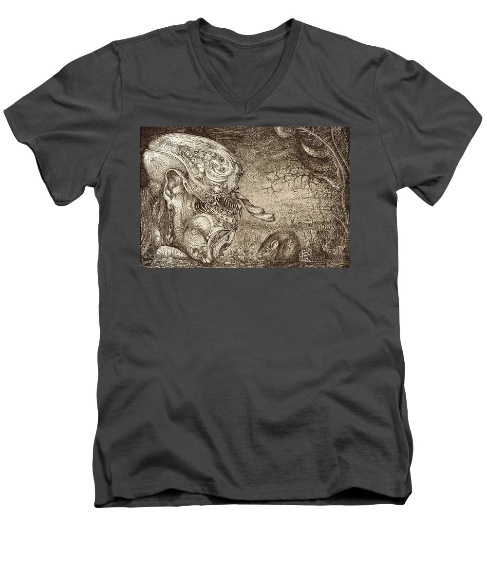 Surreal Men's V-Neck T-Shirt featuring the drawing Bogomils Mousetrap by Otto Rapp