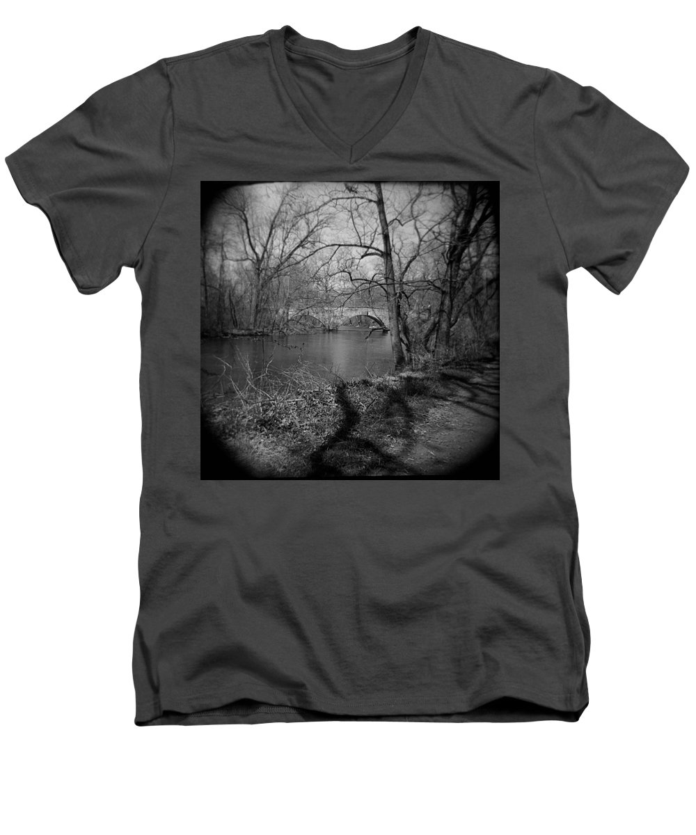 Photograph Men's V-Neck T-Shirt featuring the photograph Boiling Springs Stone Bridge by Jean Macaluso