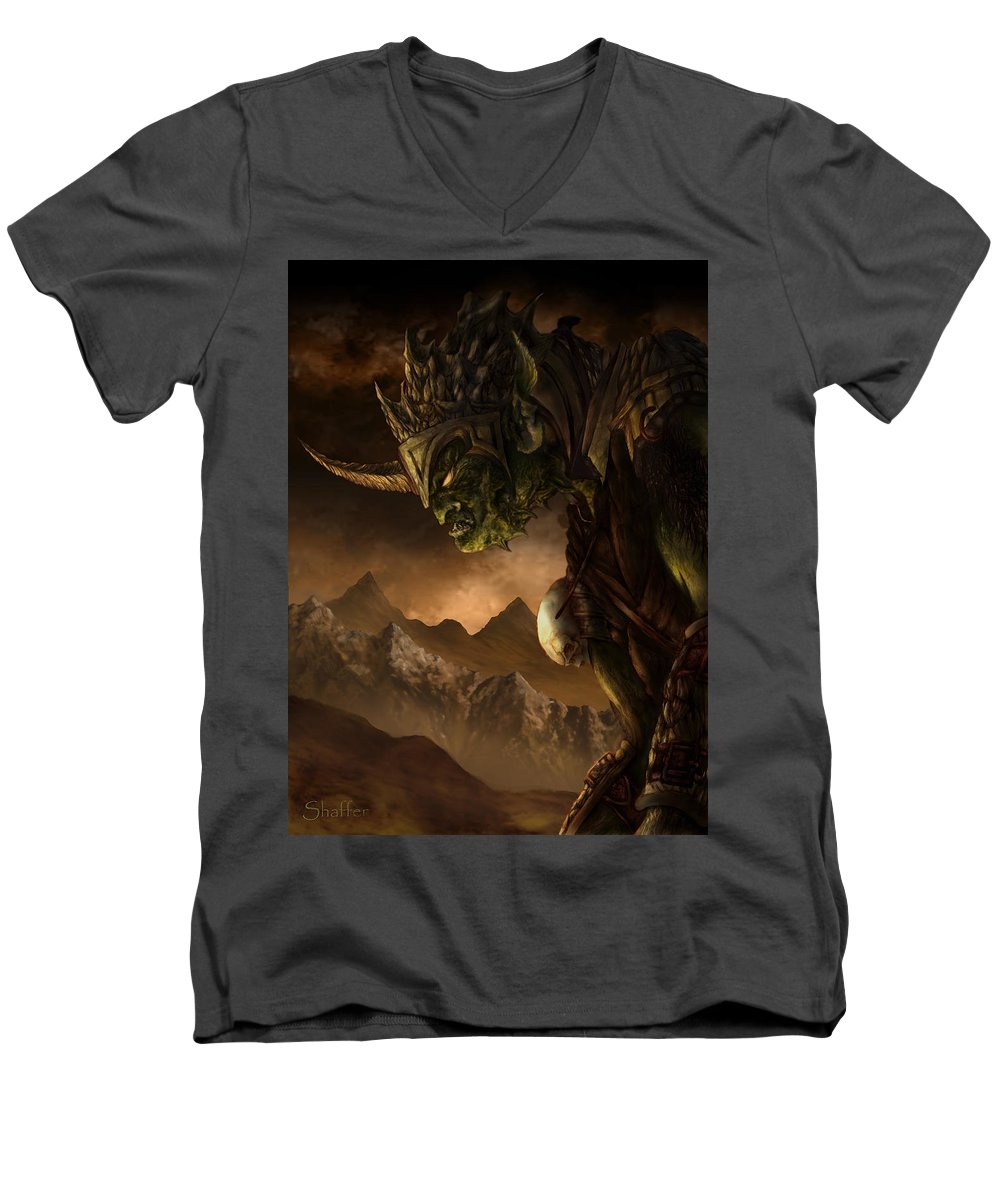Goblin Men's V-Neck T-Shirt featuring the mixed media Bolg The Goblin King by Curtiss Shaffer