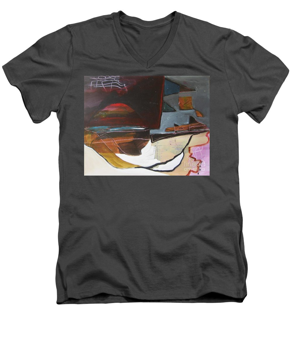 Abstract Atlantic Newfoundland Landscape Seascape Ocean Acrylic Paper Dusk Bonavista Canvas Men's V-Neck T-Shirt featuring the painting Bonavista At Dusk by Seon-Jeong Kim