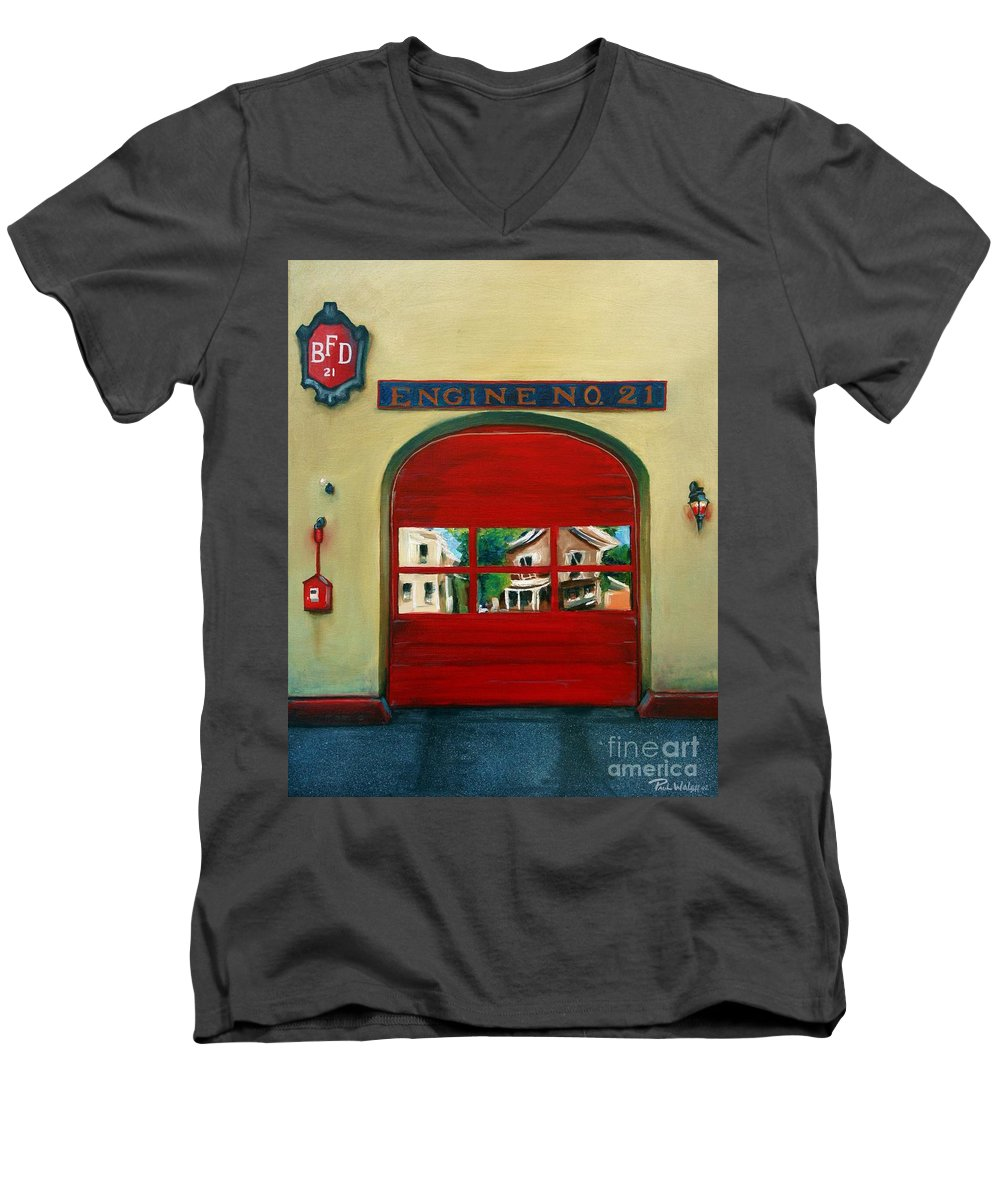 Fire House Men's V-Neck T-Shirt featuring the painting Boston Fire Engine 21 by Paul Walsh