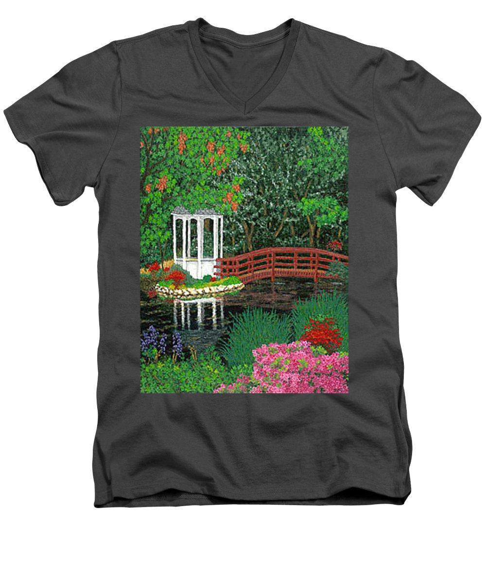 Art Men's V-Neck T-Shirt featuring the painting Botanical Garden Park Walk Pink Azaleas Bridge Gazebo Flowering Trees Pond by Baslee Troutman