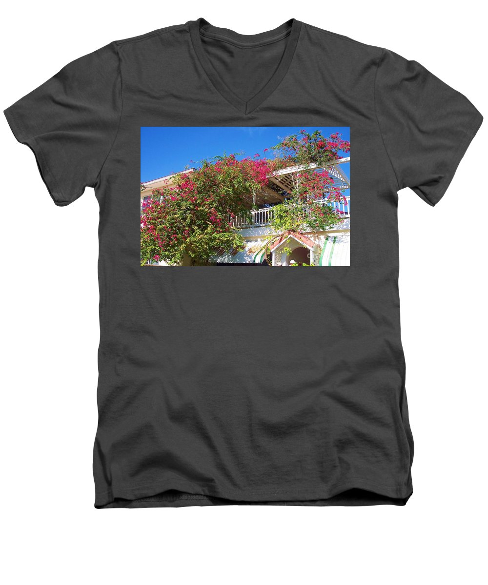 Flowers Men's V-Neck T-Shirt featuring the photograph Bougainvillea Villa by Debbi Granruth