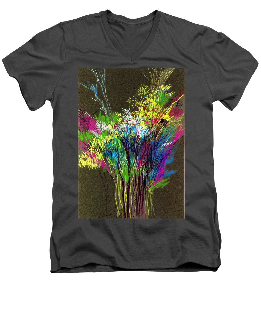 Flowers Men's V-Neck T-Shirt featuring the painting Bouquet by Anil Nene