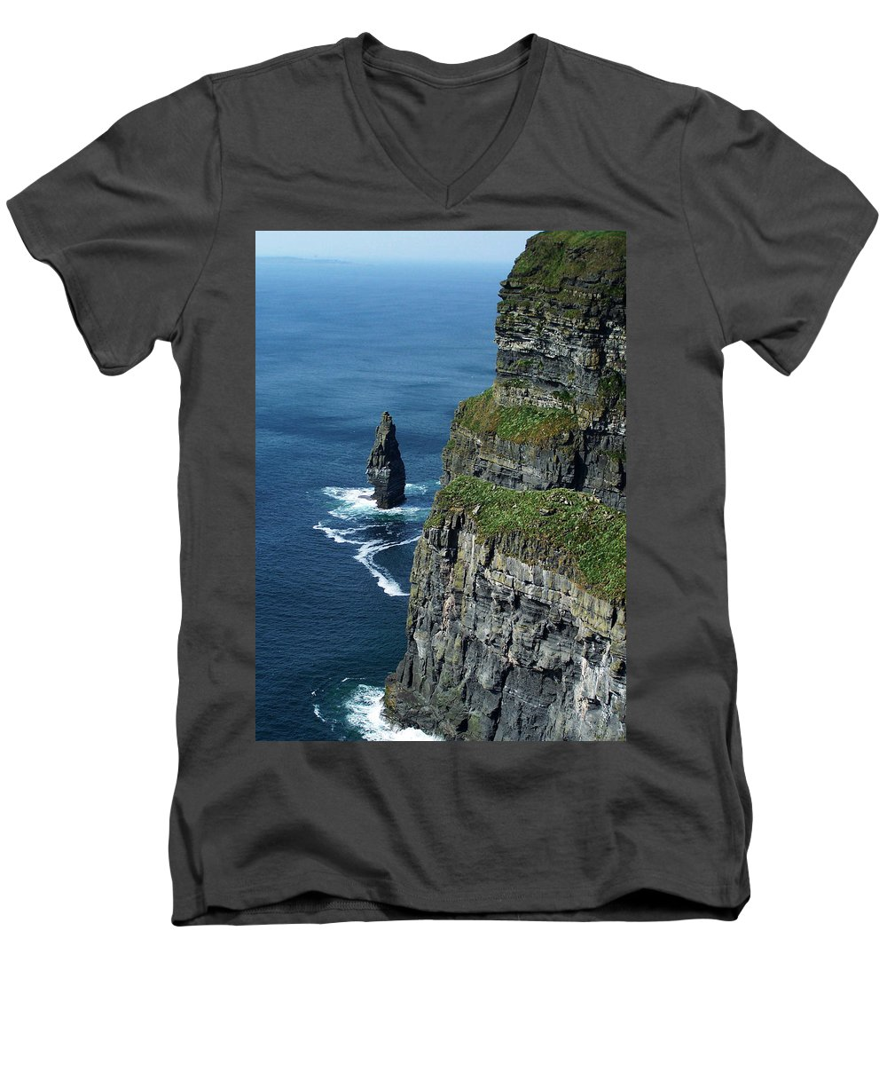 Irish Men's V-Neck T-Shirt featuring the photograph Brananmore Cliffs Of Moher Ireland by Teresa Mucha