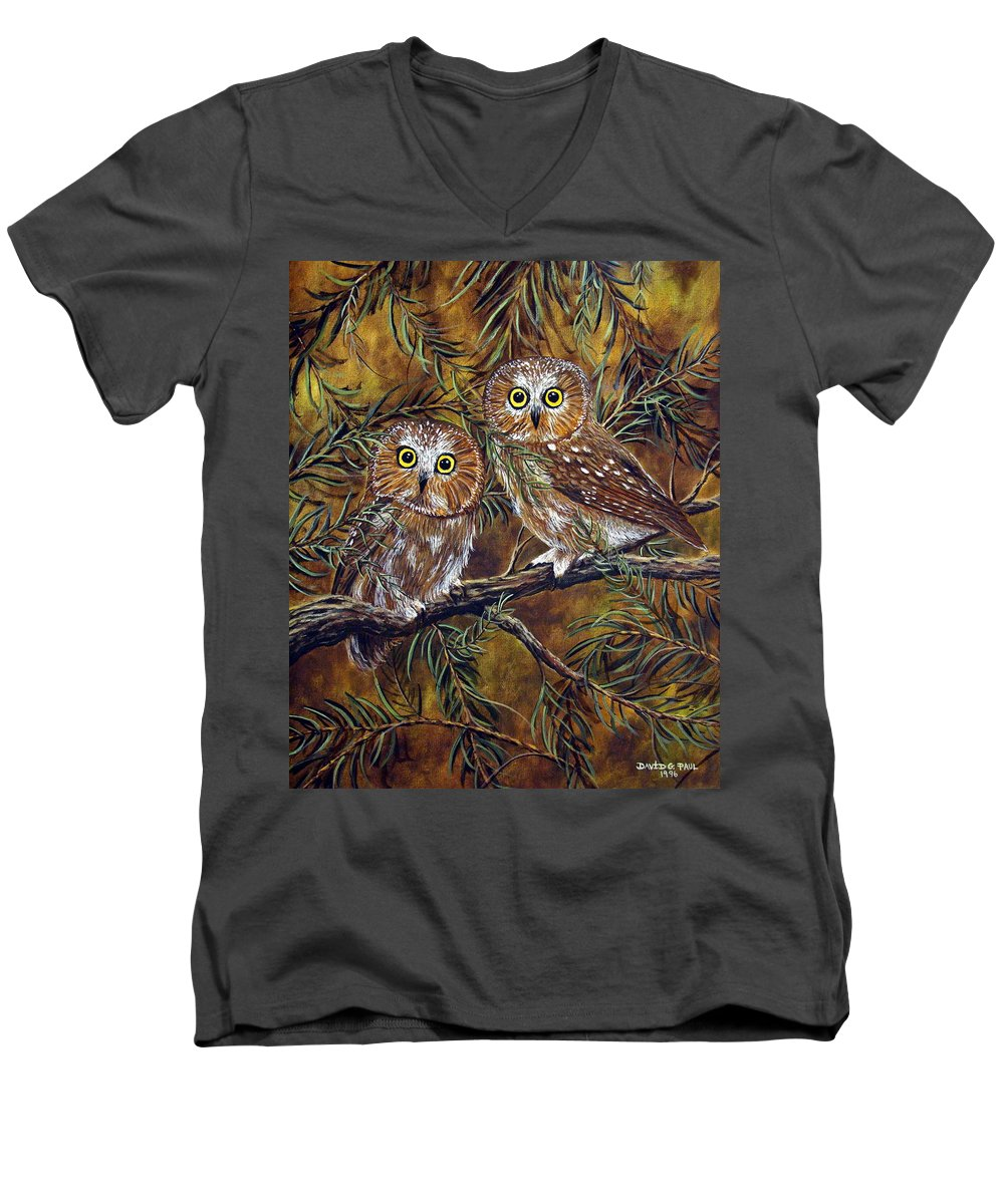 Owls Men's V-Neck T-Shirt featuring the painting Branch Buddies by David G Paul