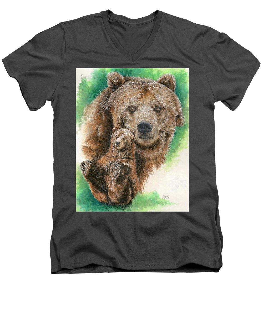 Bear Men's V-Neck T-Shirt featuring the mixed media Brawny by Barbara Keith