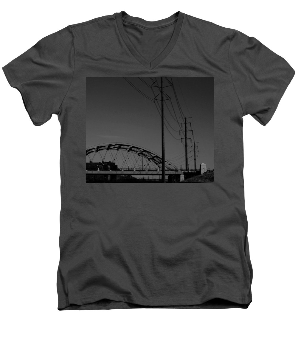 Metal Structures Men's V-Neck T-Shirt featuring the photograph Bridge And Power Poles At Dusk by Angus Hooper Iii