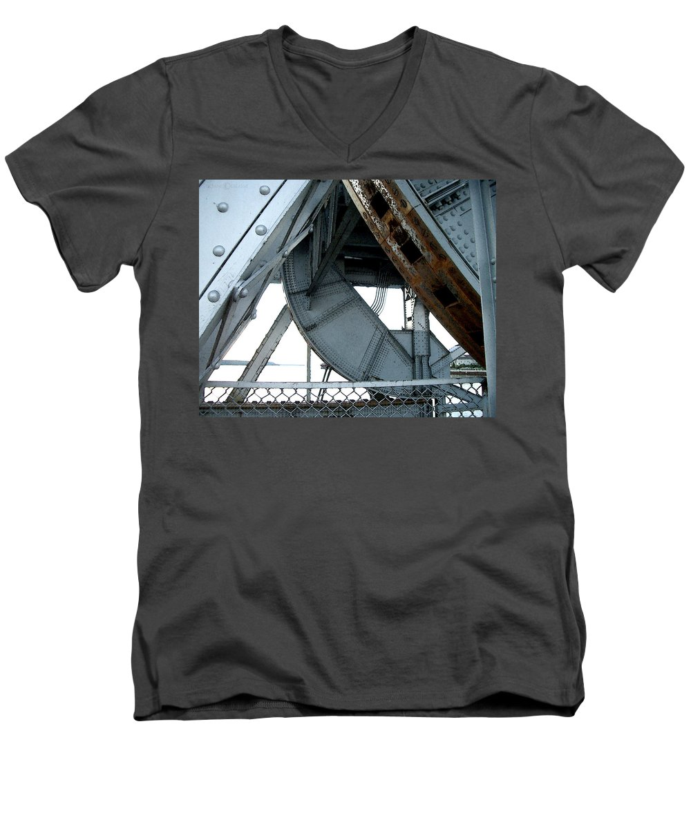 Steel Men's V-Neck T-Shirt featuring the photograph Bridge Gears by Tim Nyberg