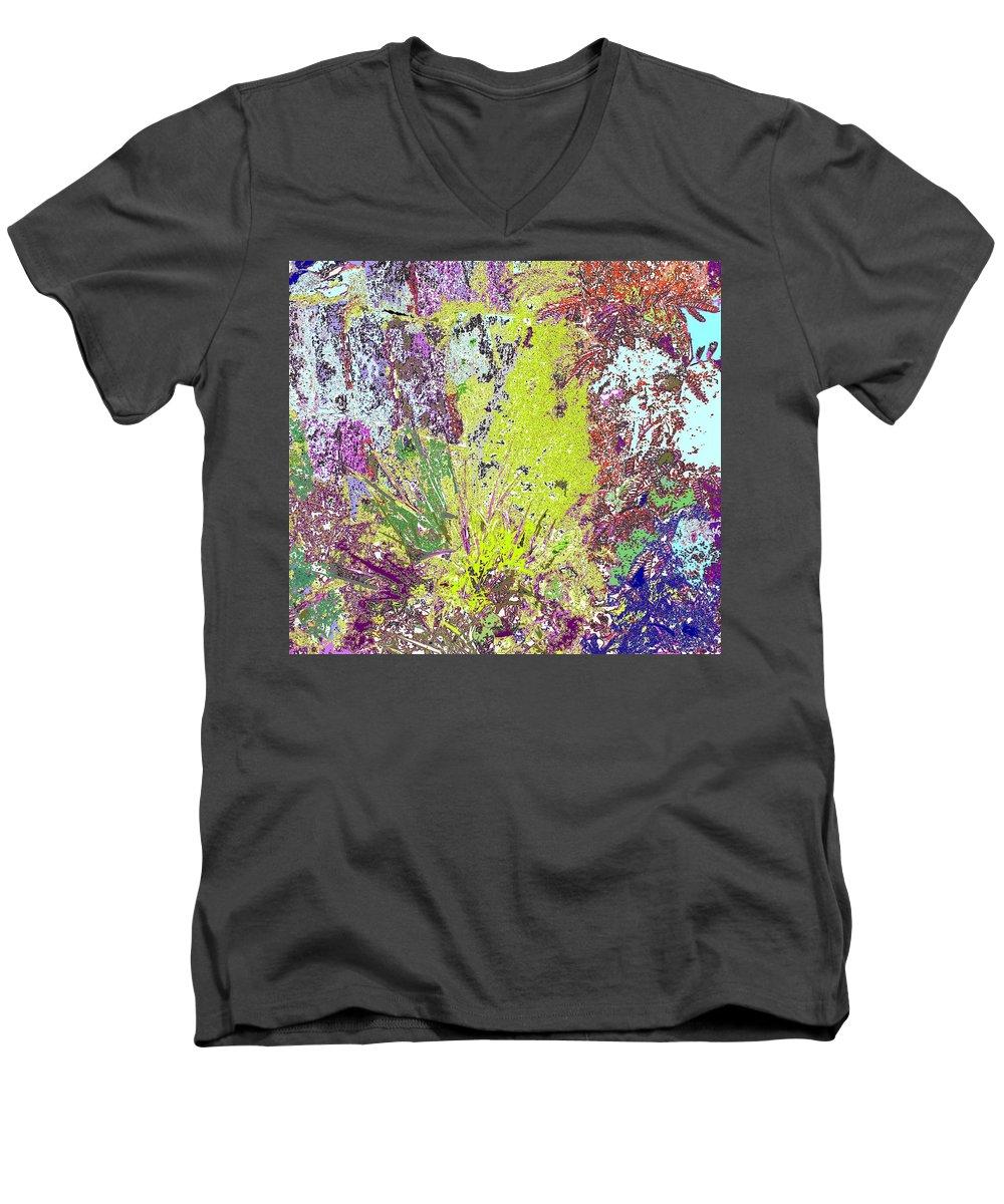 Abstract Men's V-Neck T-Shirt featuring the photograph Brimstone Fantasy by Ian MacDonald