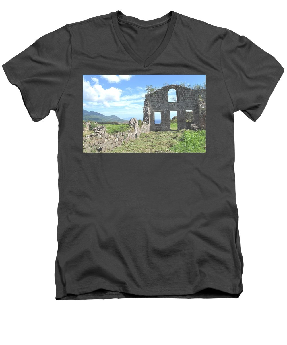 St Kitts Men's V-Neck T-Shirt featuring the photograph Brimstone Ruins by Ian MacDonald