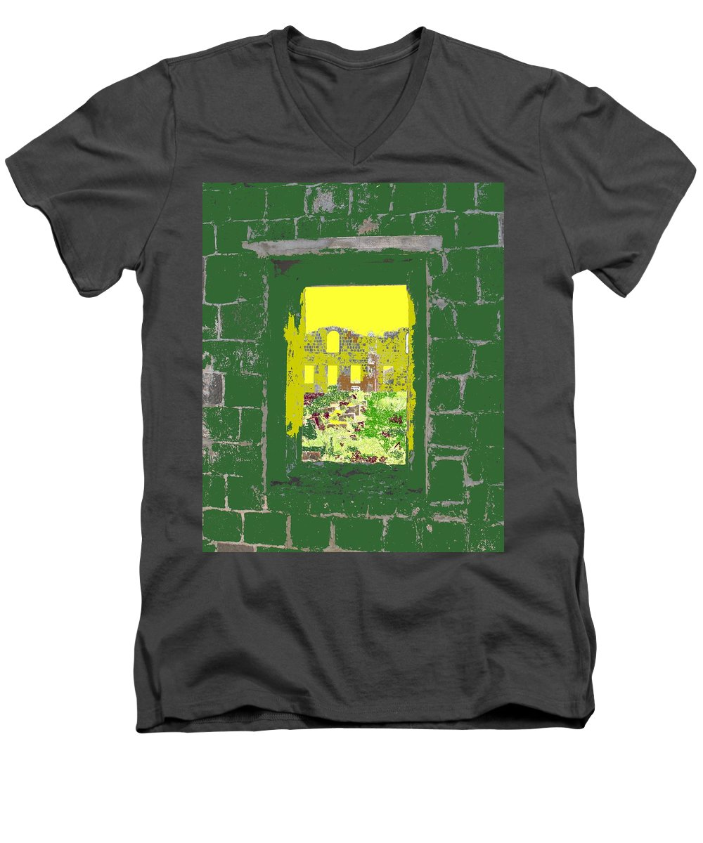 Brimstone Men's V-Neck T-Shirt featuring the photograph Brimstone Window by Ian MacDonald