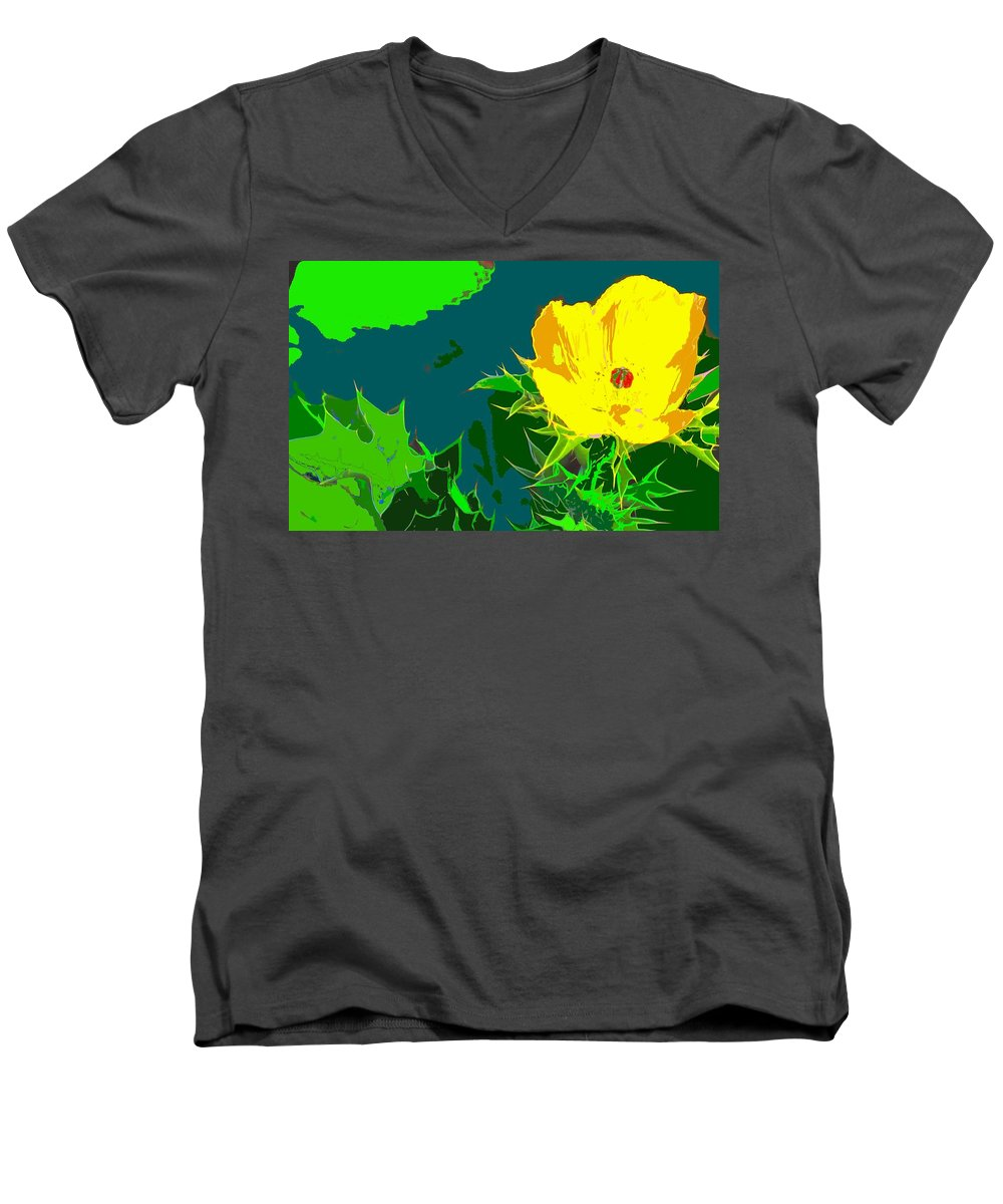Men's V-Neck T-Shirt featuring the photograph Brimstone Yellow by Ian MacDonald