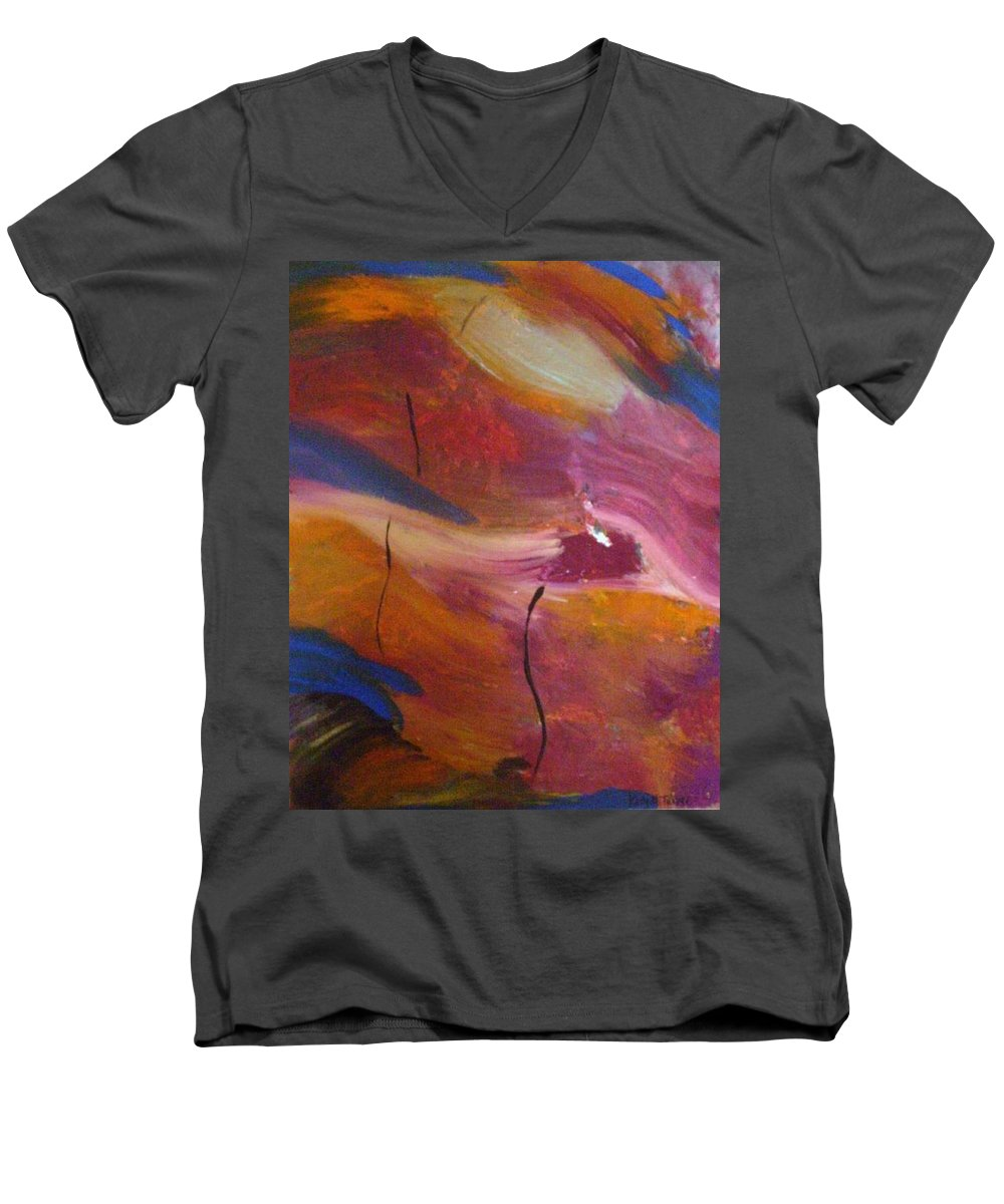 Abstract Art Men's V-Neck T-Shirt featuring the painting Broken Heart by Kelly Turner