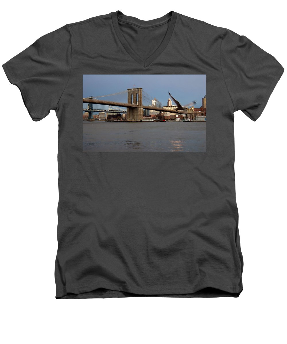 Brooklyn Bridge Men's V-Neck T-Shirt featuring the photograph Brooklyn Bridge And Bird In Flight by Anita Burgermeister