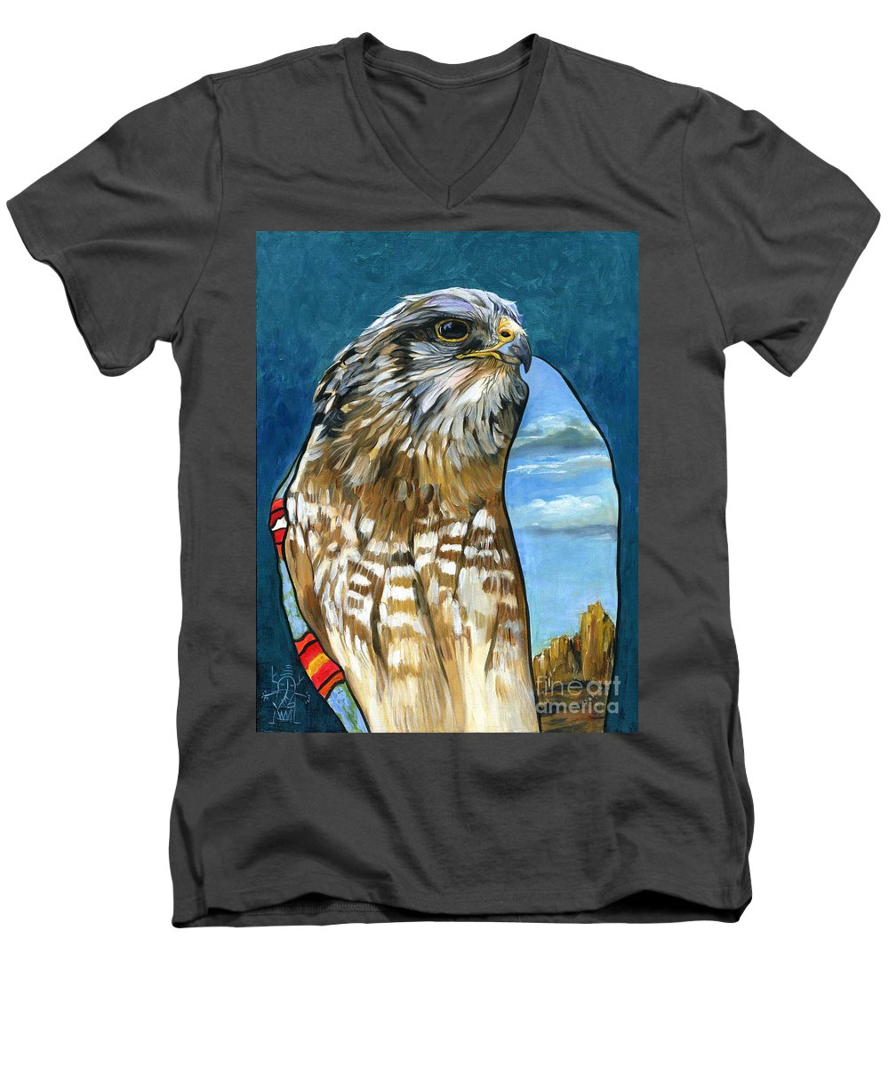 Hawk Men's V-Neck T-Shirt featuring the painting Brother Hawk by J W Baker