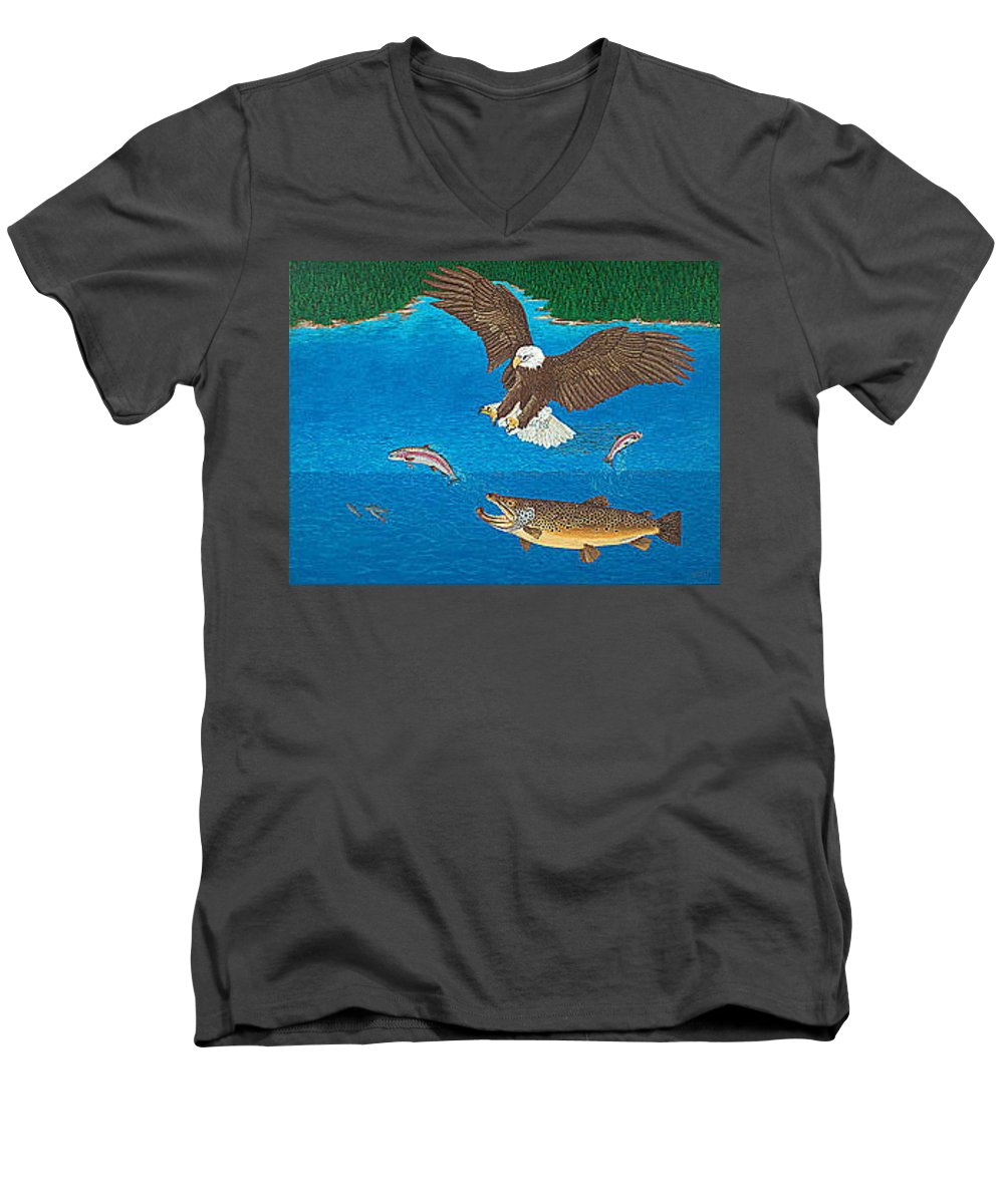 Brown Trout Men's V-Neck T-Shirt featuring the painting Brown Trout Eagle Rainbow Trout Art Print Giclee Wildlife Nature Lake Art Fish Artwork Decor by Baslee Troutman