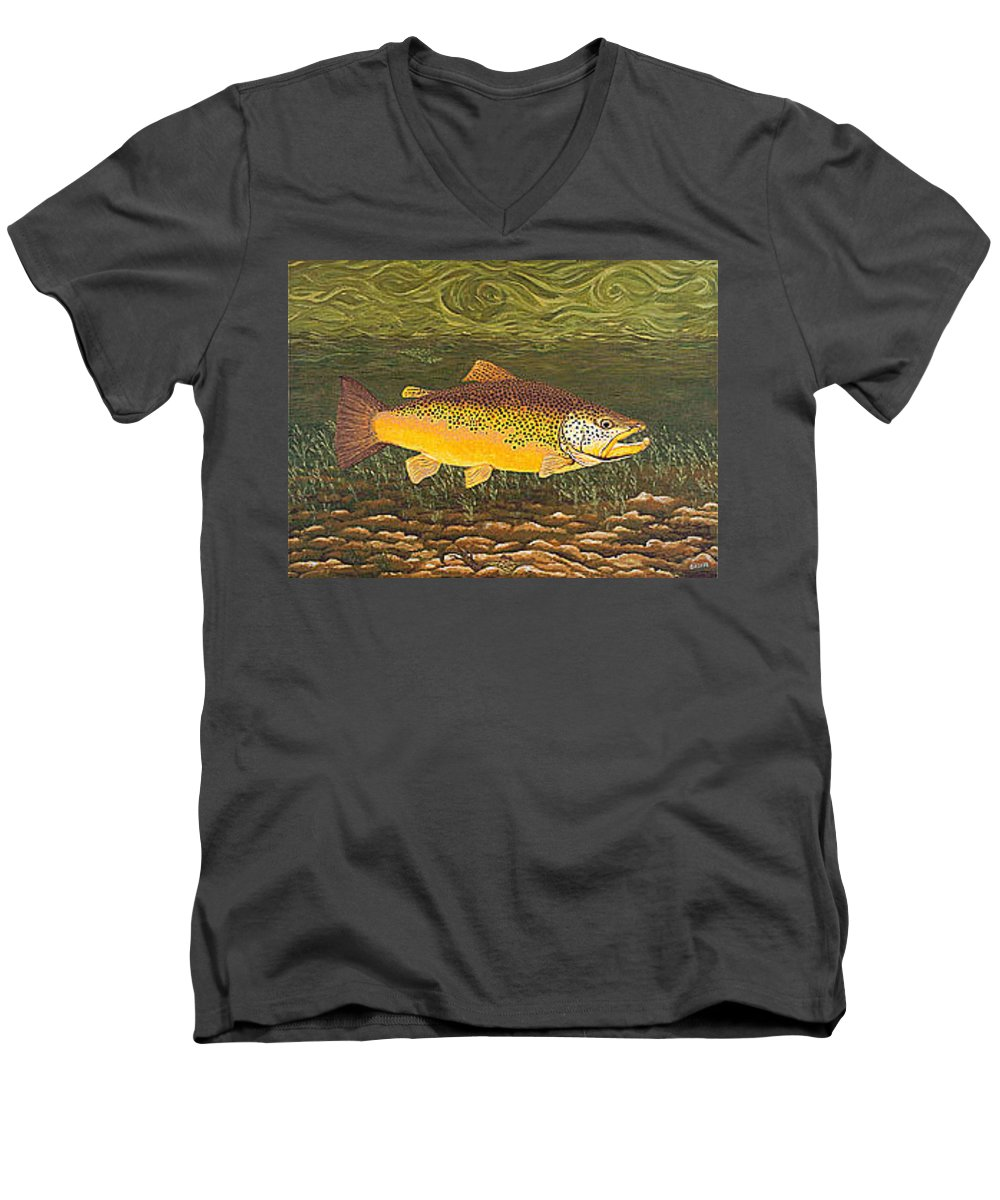 Art Print Prints Canvas Framed Giclee Fine Brown Trout Fish Angler Angling Fishing Fishermen Decor Men's V-Neck T-Shirt featuring the painting Brown Trout Fish Art Print Touch Down Brown Trophy Size Football Shape Brown Trout Angler Angling by Baslee Troutman