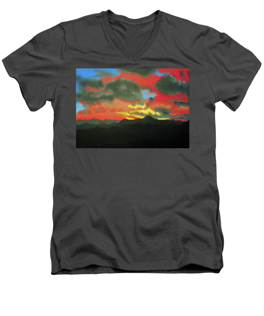 Sunset Men's V-Neck T-Shirt featuring the painting Buenas Noches by Marco Morales
