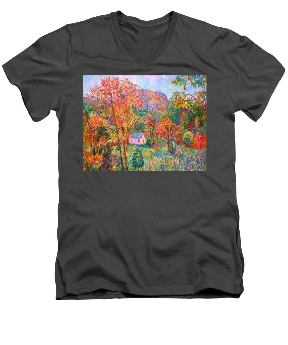 Landscape Men's V-Neck T-Shirt featuring the painting Buffalo Mountain In Fall by Kendall Kessler