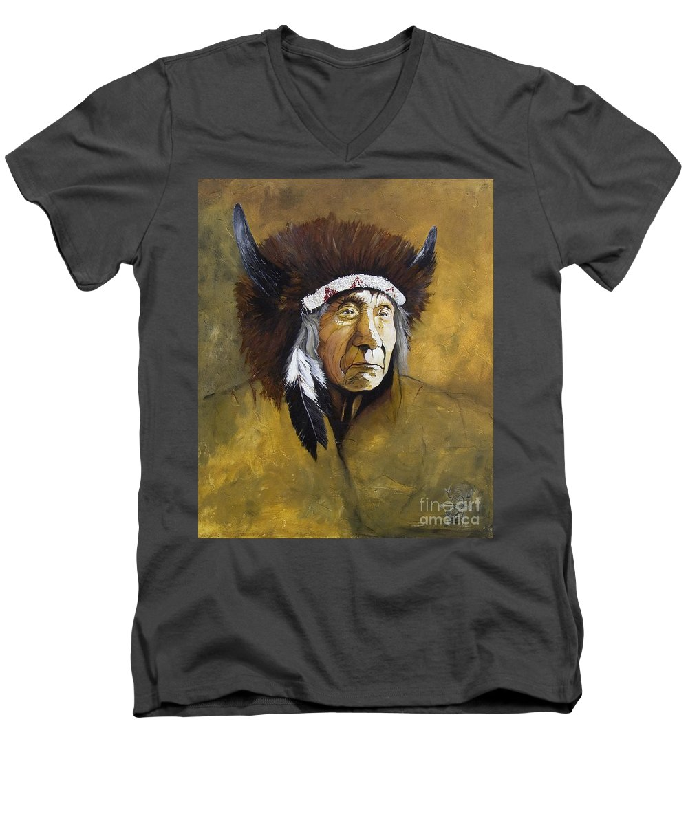 Shaman Men's V-Neck T-Shirt featuring the painting Buffalo Shaman by J W Baker