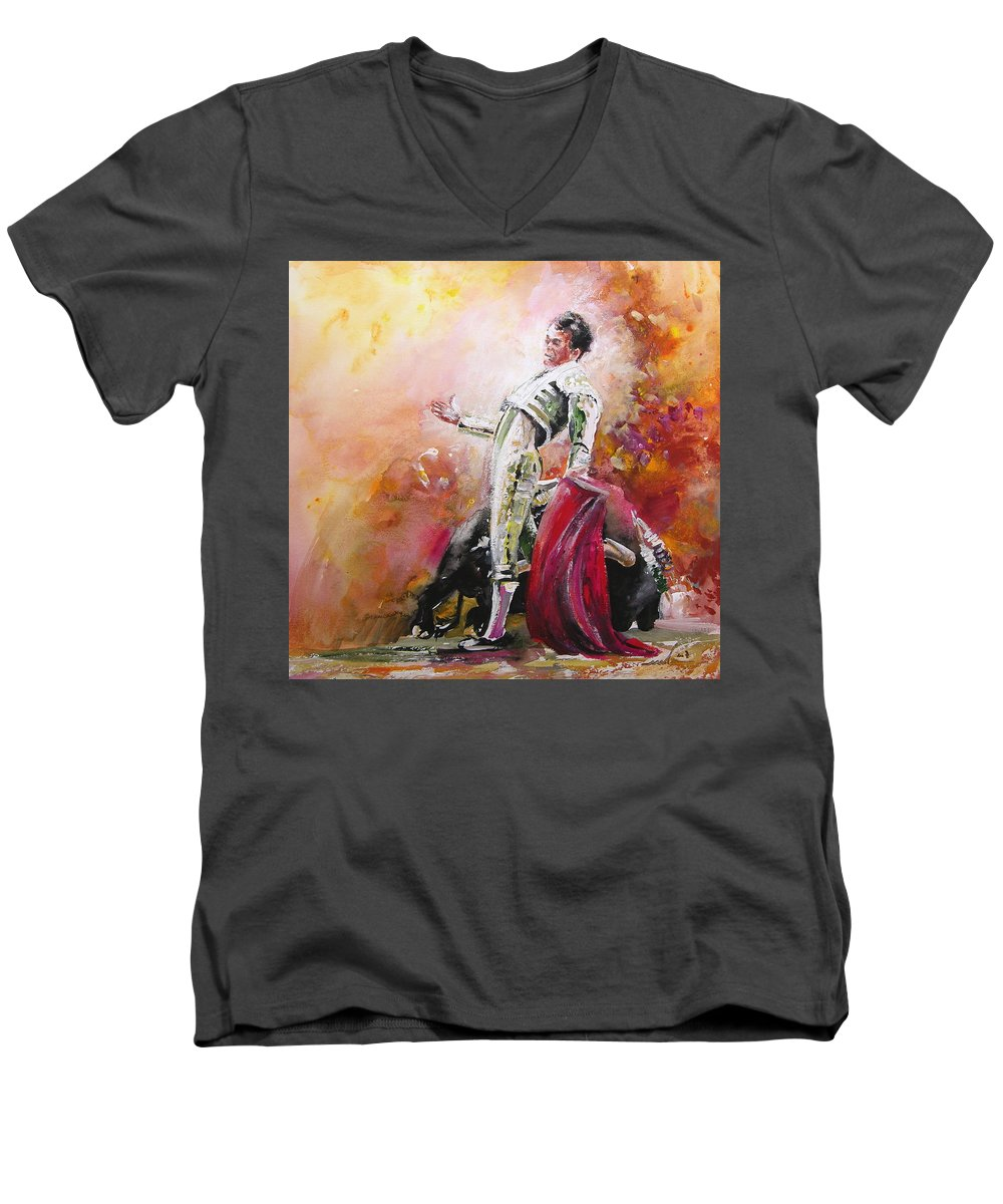 Animals Men's V-Neck T-Shirt featuring the painting Bullfight 24 by Miki De Goodaboom