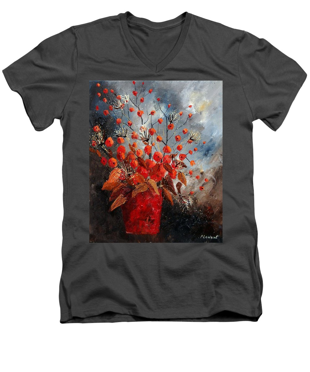 Flowers Men's V-Neck T-Shirt featuring the painting Bunch 560608 by Pol Ledent