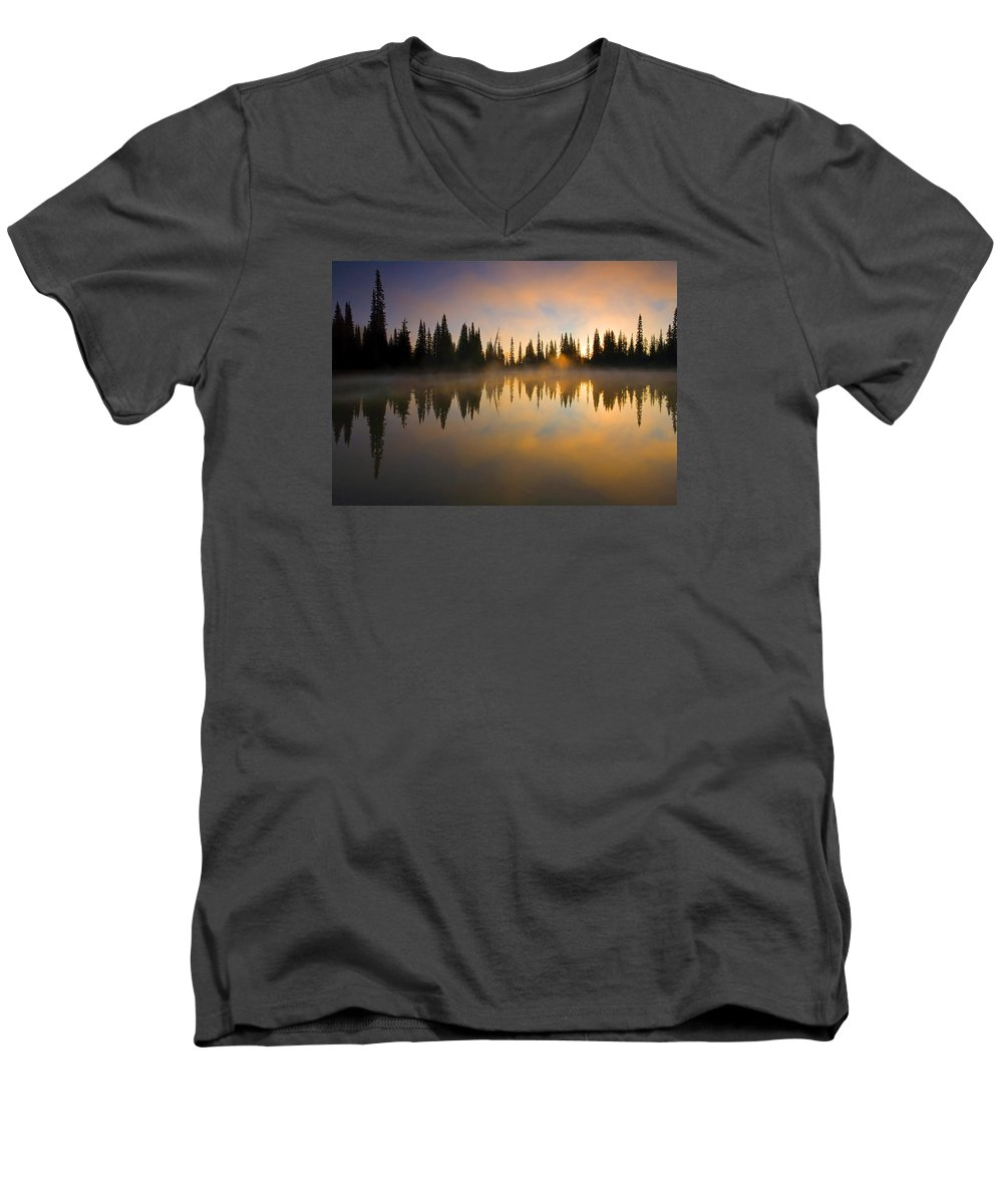Lake Men's V-Neck T-Shirt featuring the photograph Burning Dawn by Mike Dawson