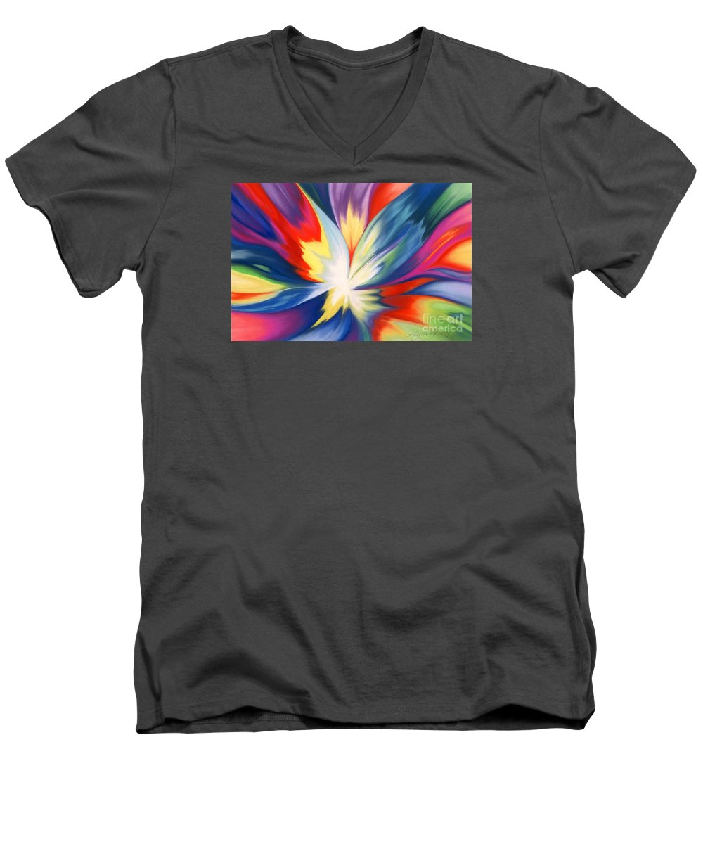 Abstract Men's V-Neck T-Shirt featuring the painting Burst Of Joy by Lucy Arnold