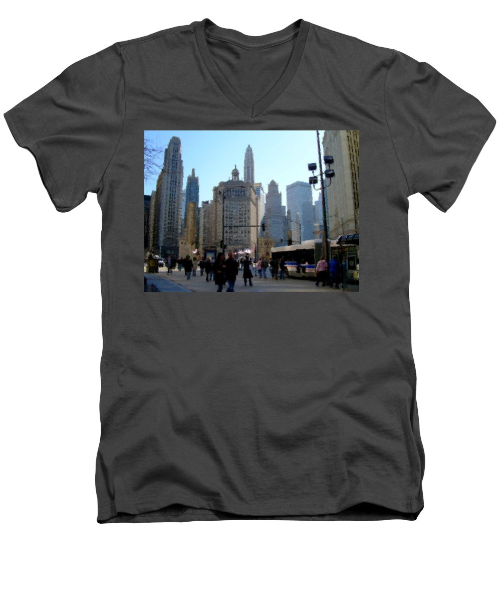 Archtecture Men's V-Neck T-Shirt featuring the digital art Bus On Miracle Mile by Anita Burgermeister