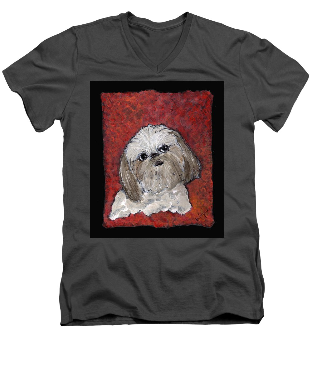 Dog Men's V-Neck T-Shirt featuring the painting Buster by Wayne Potrafka