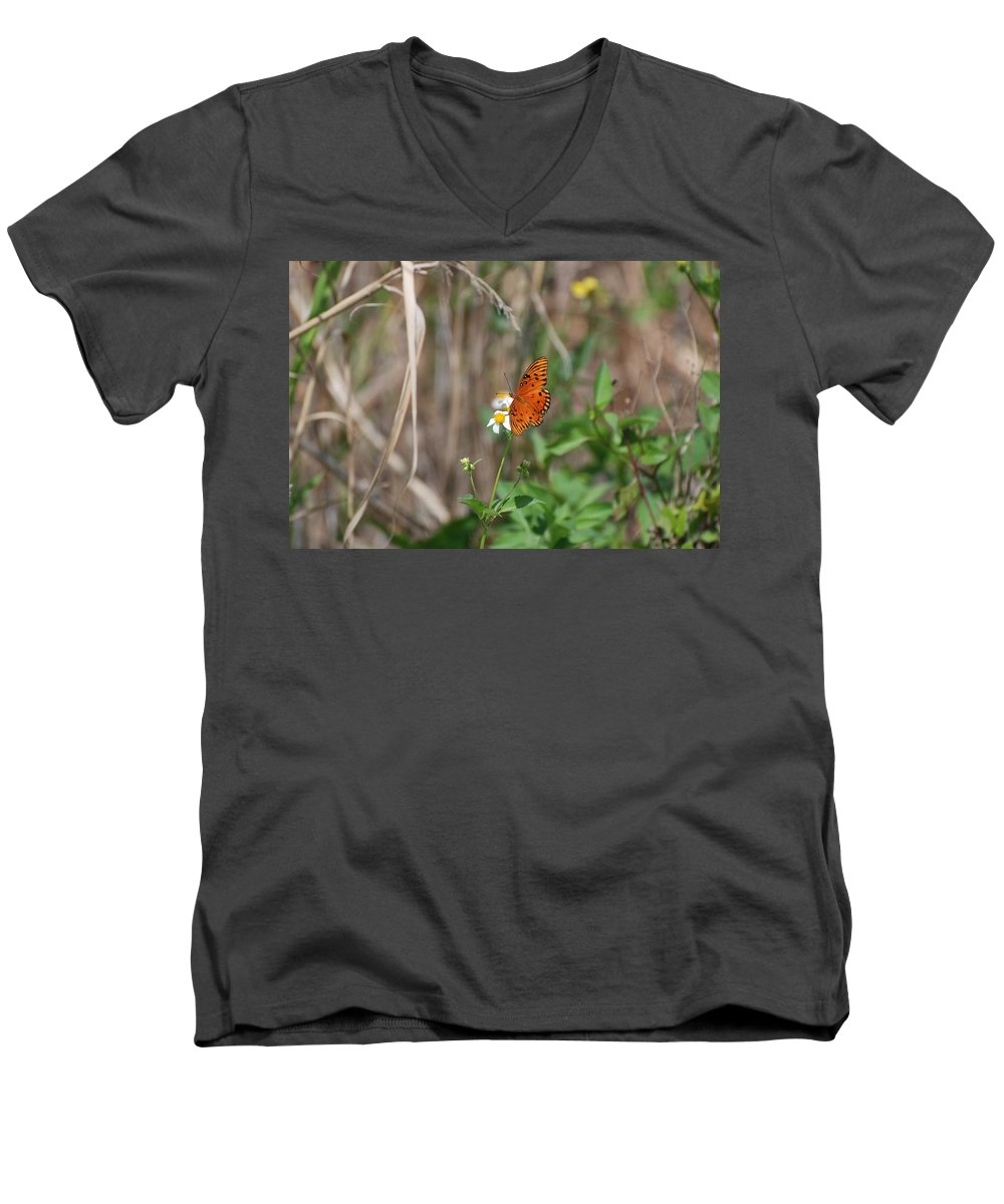 Nature Men's V-Neck T-Shirt featuring the photograph Butterfly On Flower by Rob Hans