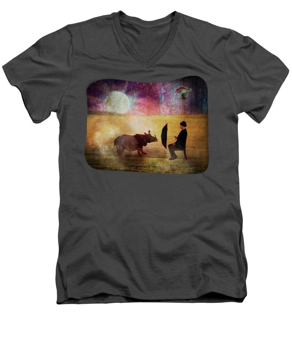 Rhinocerus V-Neck T-Shirts