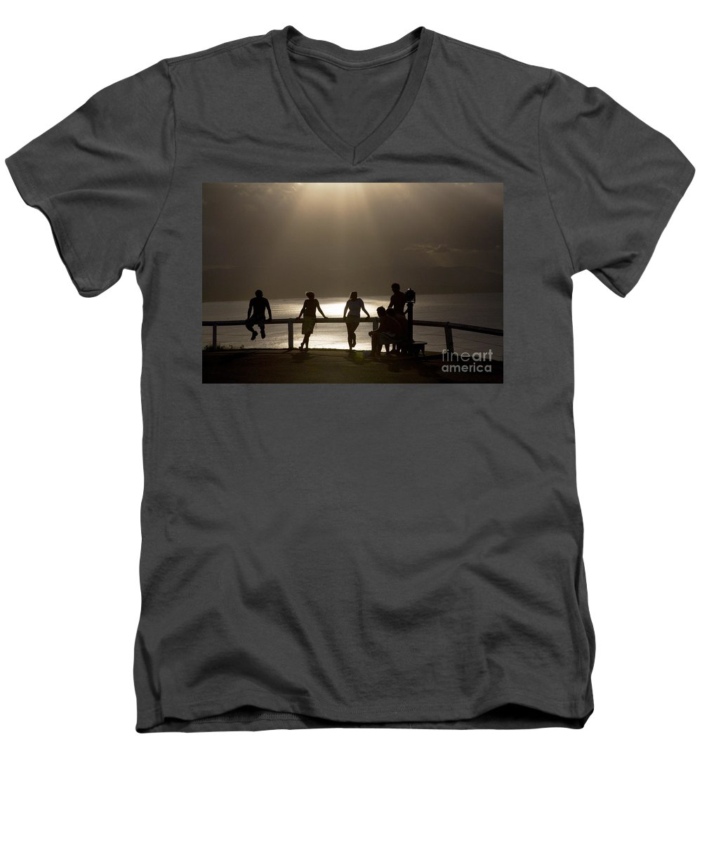 Byron Bay Lighthouse Silhouette Sunset Rays Men's V-Neck T-Shirt featuring the photograph Byron Bay Lighthouse by Avalon Fine Art Photography