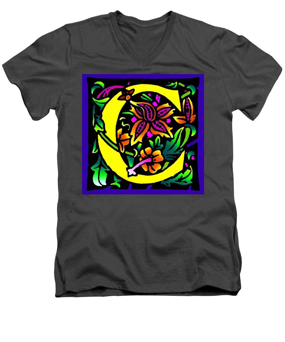Alphabet Men's V-Neck T-Shirt featuring the digital art C In Yellow by Kathleen Sepulveda