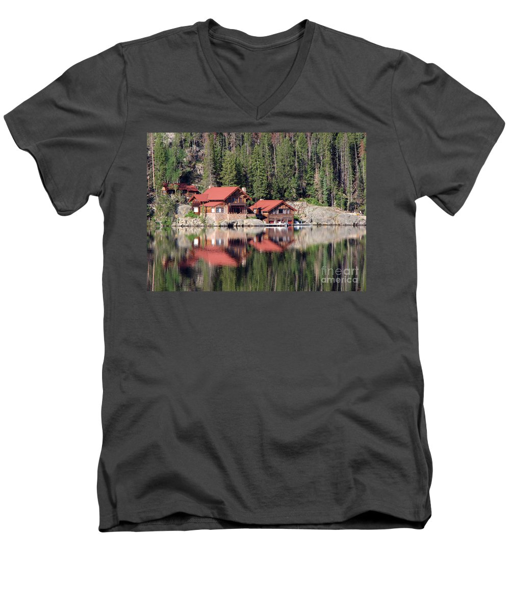 Cabin Men's V-Neck T-Shirt featuring the photograph Cabin by Amanda Barcon