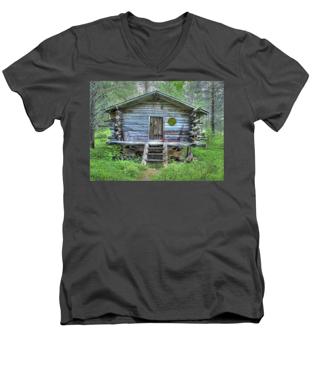 Rustic Men's V-Neck T-Shirt featuring the photograph Cabin In Lapland Forest by Merja Waters