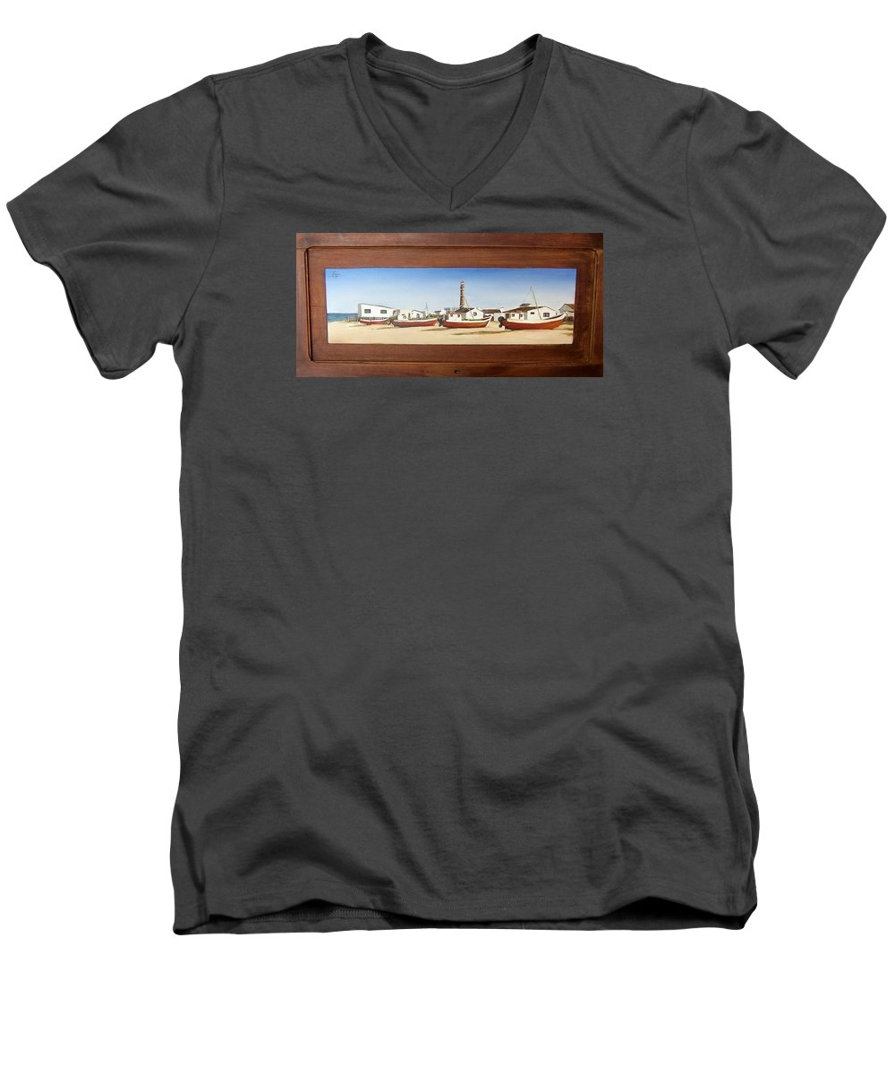 Landscape Seascape Uruguay Beach Boats Sea Lighthouse Men's V-Neck T-Shirt featuring the painting Cabo Polonio 2 by Natalia Tejera