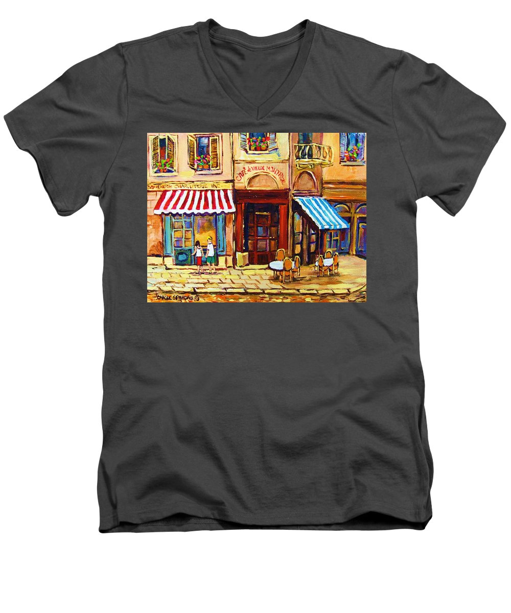 Old Montreal Outdoor Cafe City Scenes Men's V-Neck T-Shirt featuring the painting Cafe De Vieux Montreal With Couple by Carole Spandau