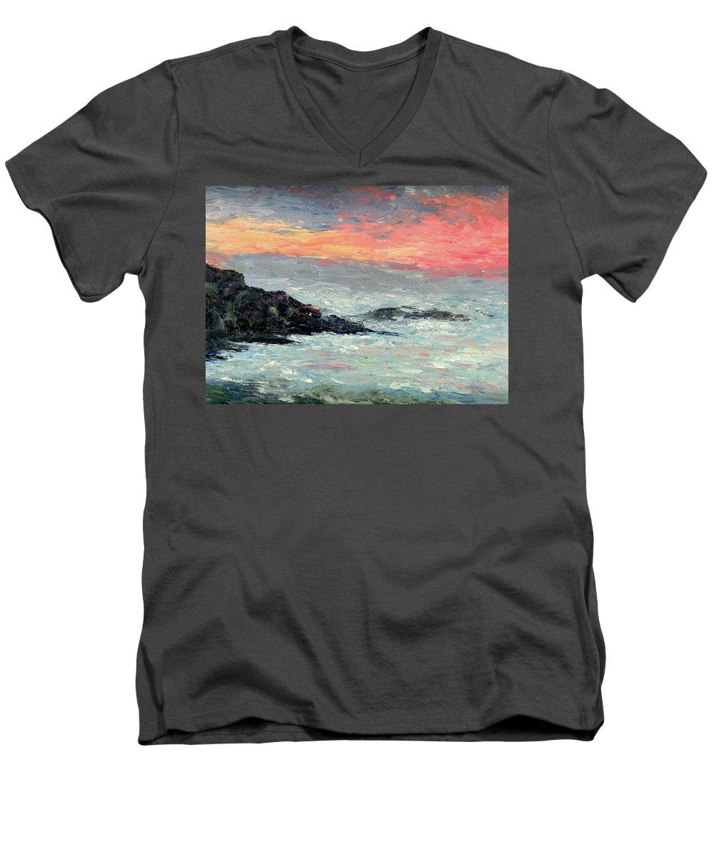 Seascape Men's V-Neck T-Shirt featuring the painting California Coast by Gail Kirtz