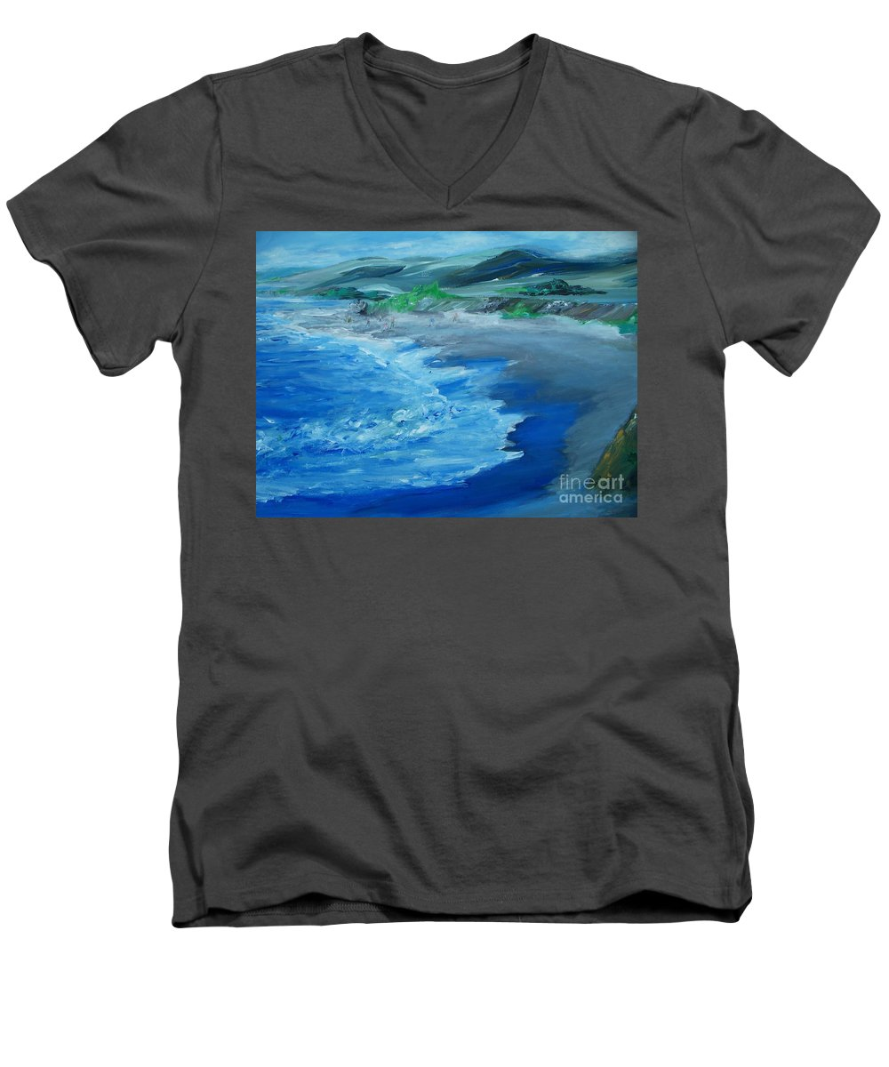 California Coast Men's V-Neck T-Shirt featuring the painting California Coastline Impressionism by Eric Schiabor