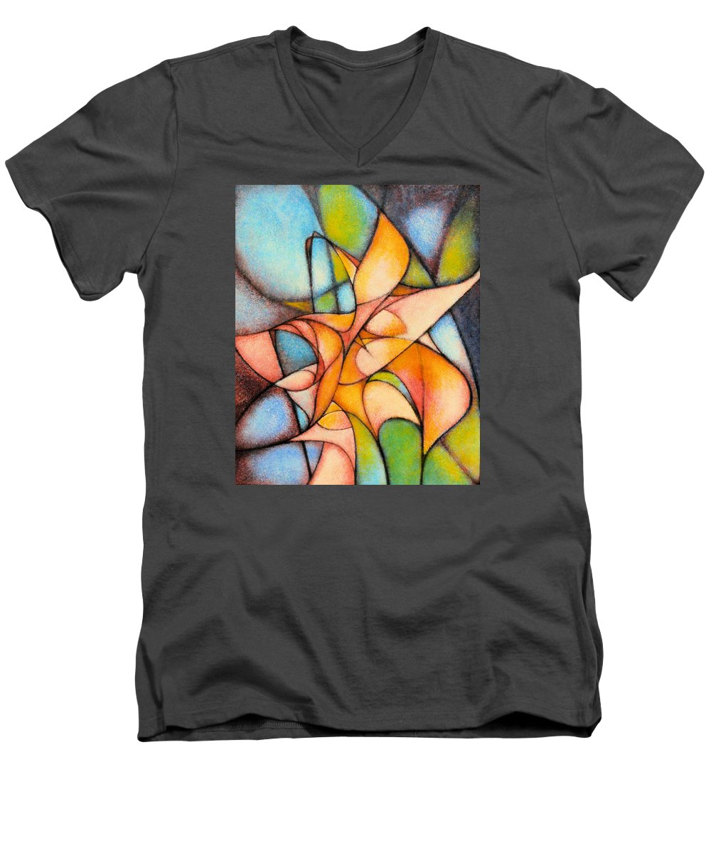 Contemporary Men's V-Neck T-Shirt featuring the painting Calla Lillies by Kevin Lawrence Leveque