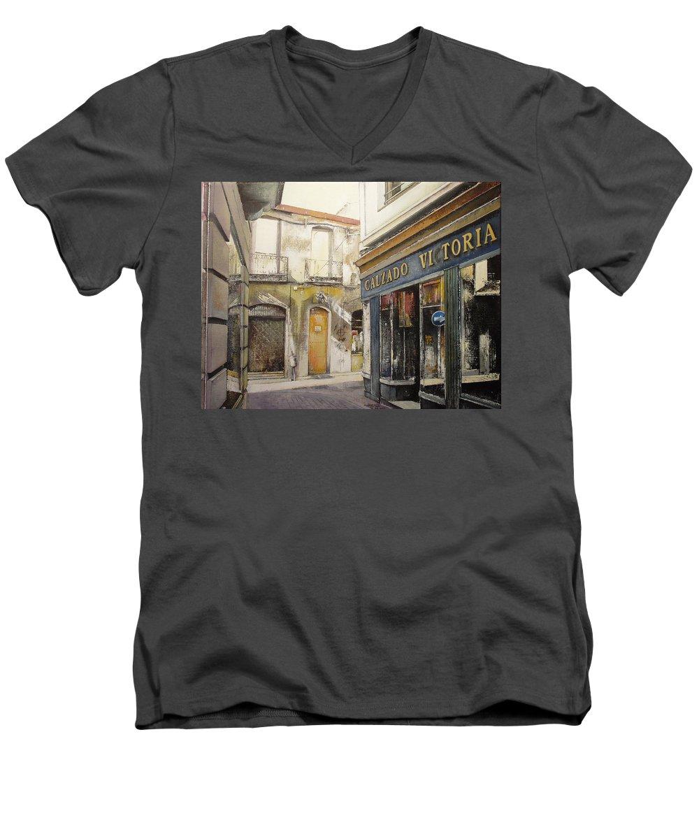 Calzados Men's V-Neck T-Shirt featuring the painting Calzados Victoria-leon by Tomas Castano