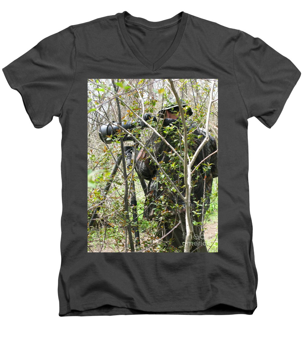 Photographer Men's V-Neck T-Shirt featuring the photograph Camouflage by Ann Horn