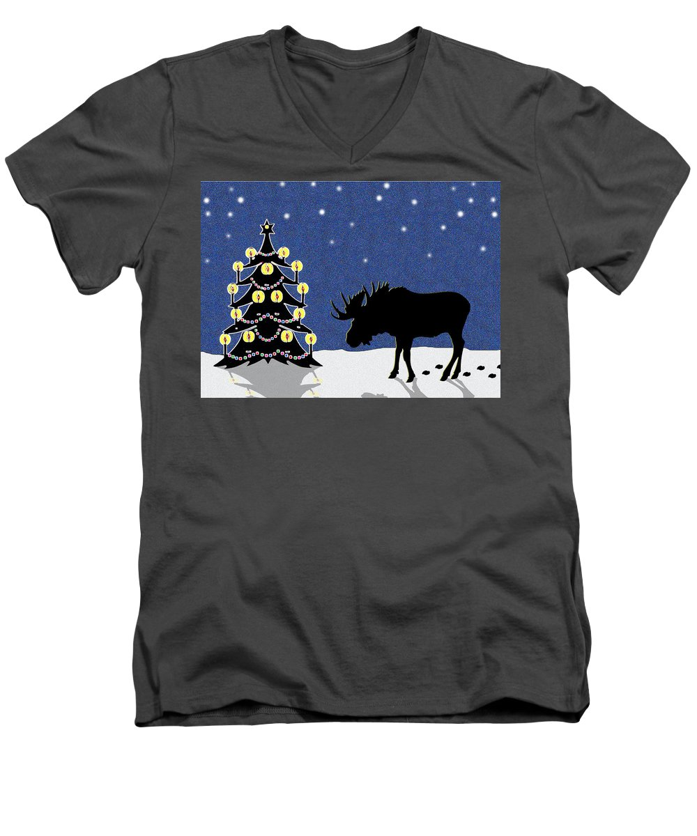 Moose Men's V-Neck T-Shirt featuring the digital art Candlelit Christmas Tree And Moose In The Snow by Nancy Mueller