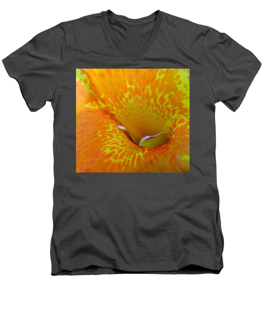 Orange Yellow Flower Men's V-Neck T-Shirt featuring the photograph Canna by Luciana Seymour