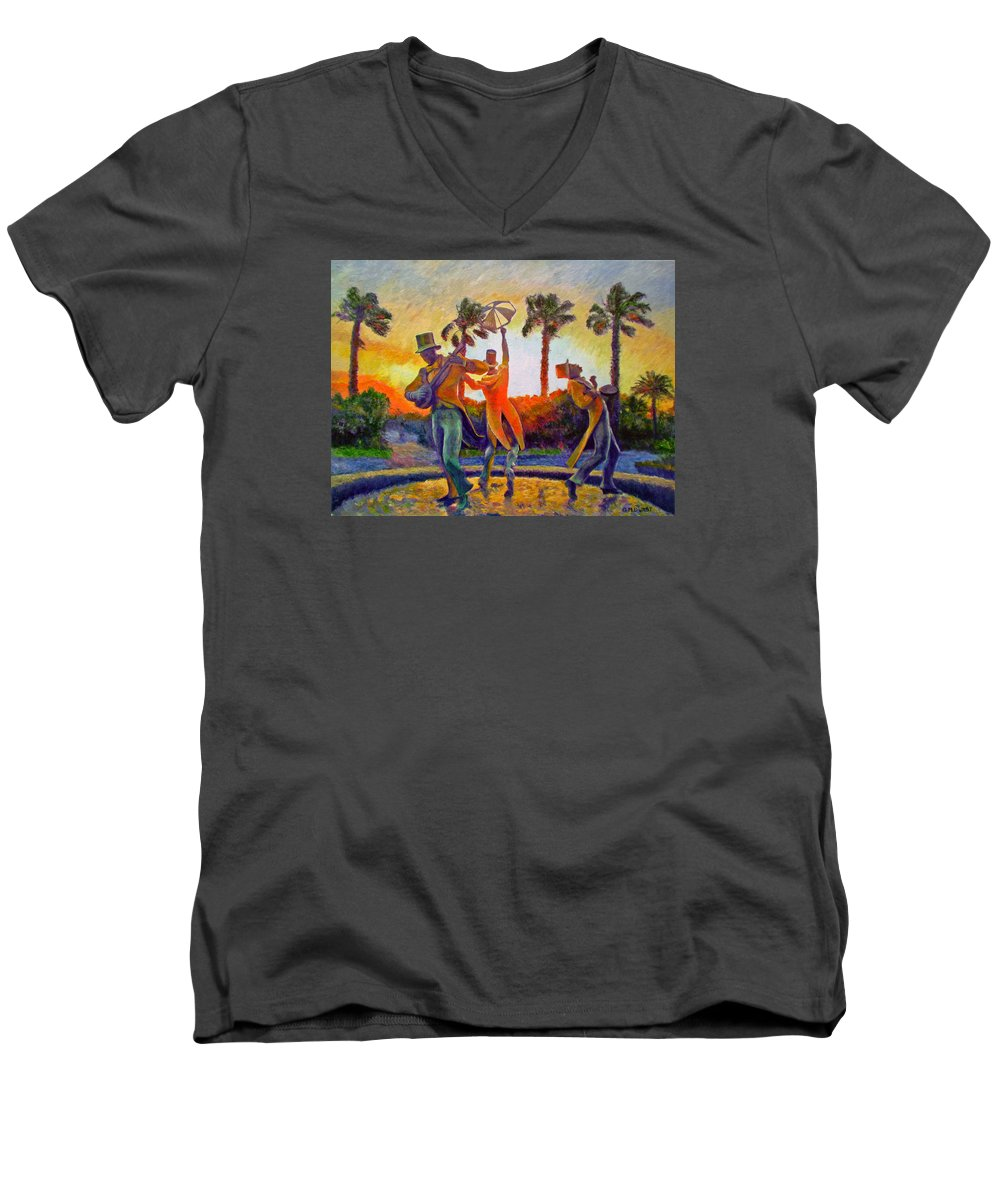 Sunset Men's V-Neck T-Shirt featuring the painting Cape Minstrels by Michael Durst