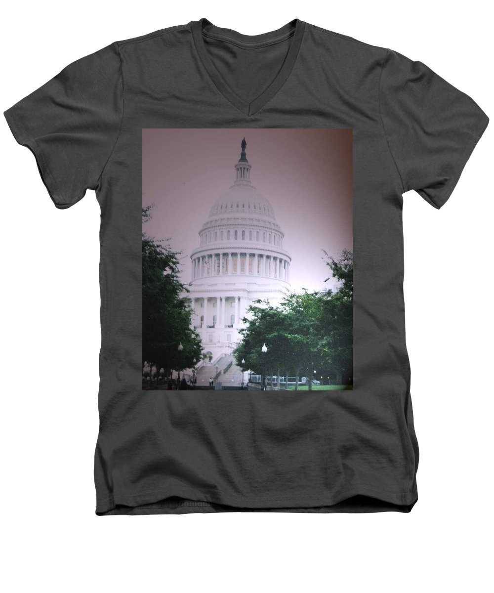 Capitol Men's V-Neck T-Shirt featuring the photograph Capitol In Pink by Pharris Art